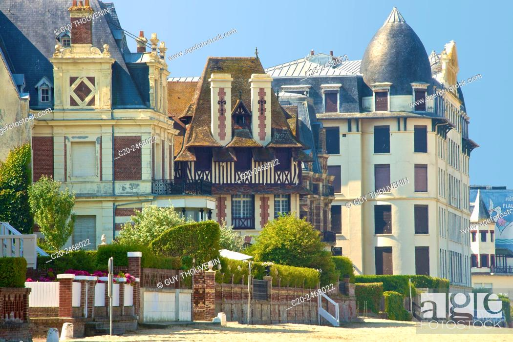 Stock Photo: Typical beach villas and hotel, along the beach, Trouville sur Mer, 14, Normandy, France.