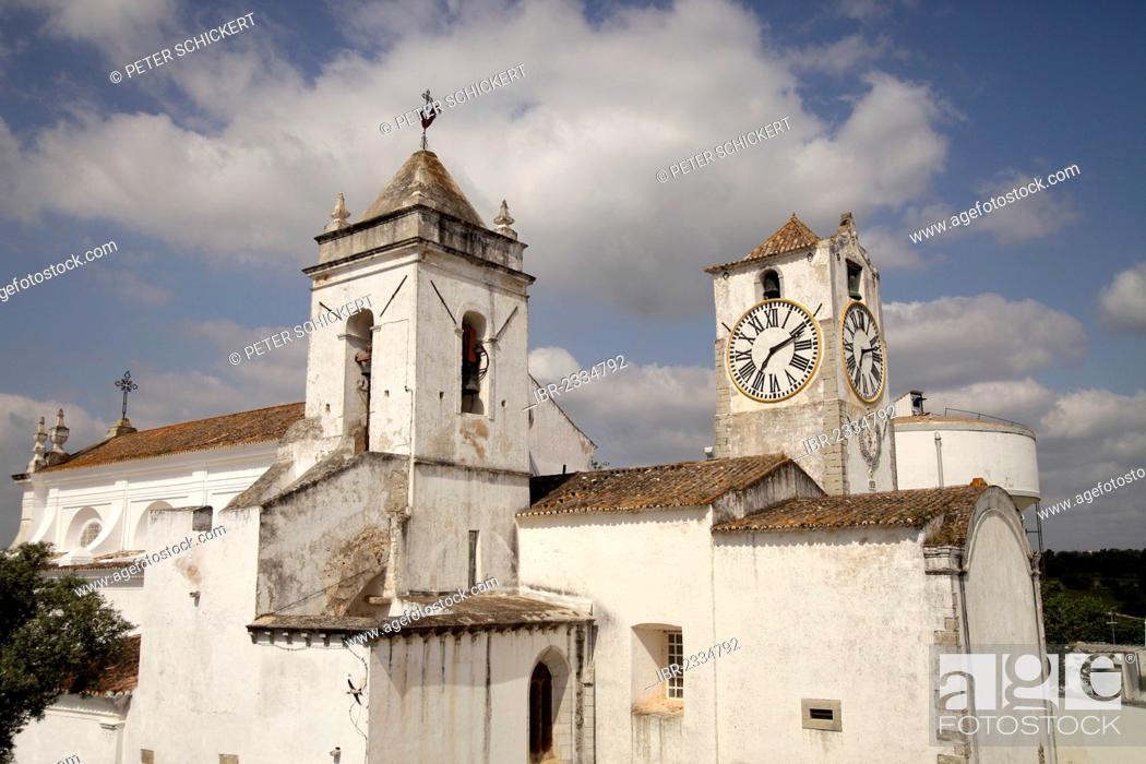 Stock Photo: The church of Santa Maria do Castelo in the old town of Tavira, Algarve, Portugal, Europe.
