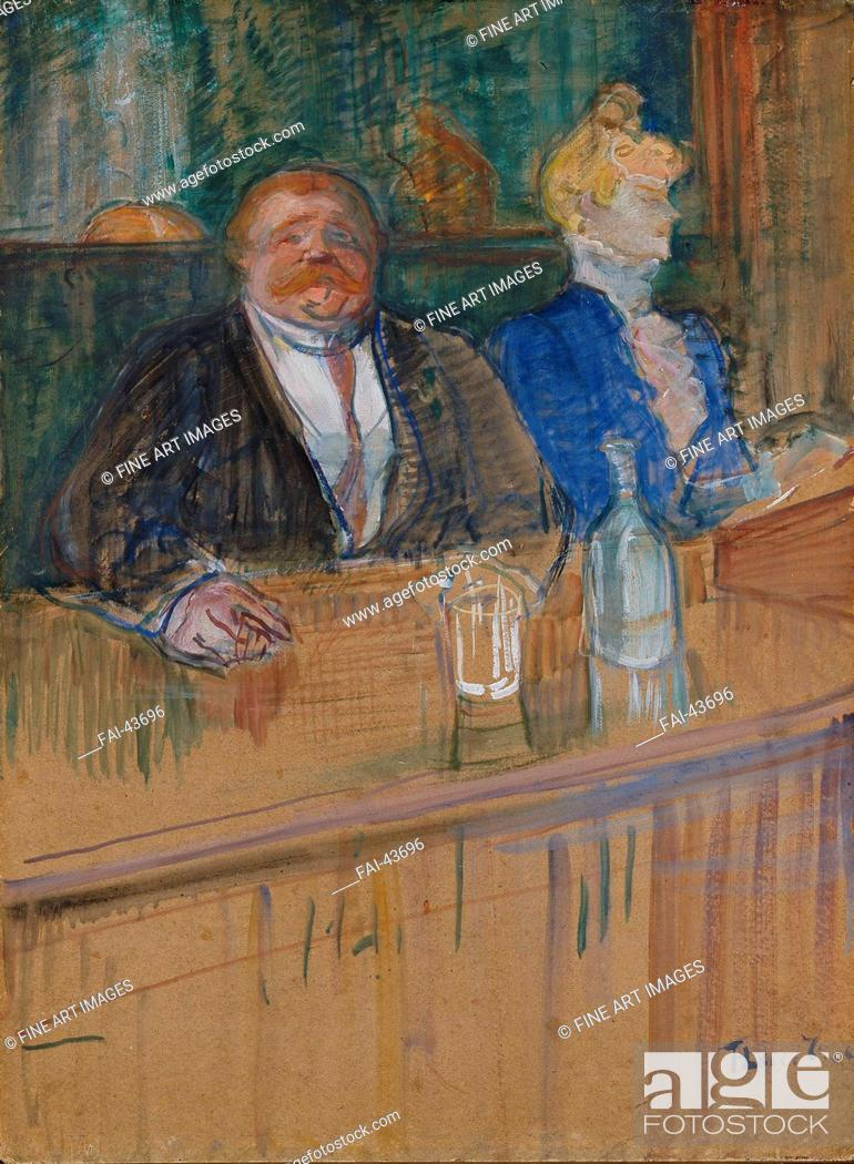 Stock Photo: At the Cafe. The Customer and the Anemic Cashier. (Au café: le patron et la caissière chlorotique) by Toulouse-Lautrec, Henri.