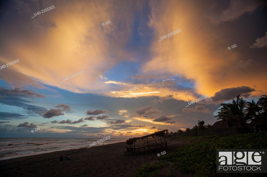 Stock Photo: Guatemala, El Paredon, sunset.