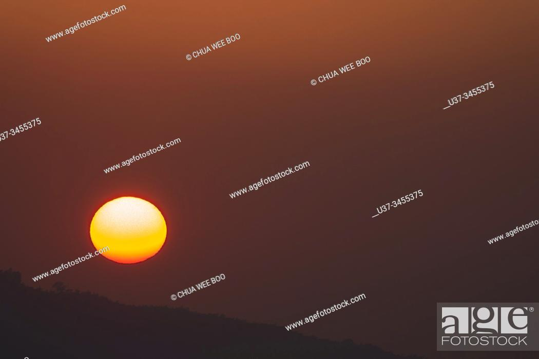 Stock Photo: Sunset in Xi Ding, Alishan National Scenic Area, Taiwan.