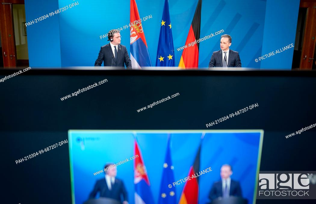Imagen: 04 March 2021, Berlin: Heiko Maas (SPD, r), German Foreign Minister, and his Serbian counterpart Nikola Selakovic give a press conference at the Federal Foreign.