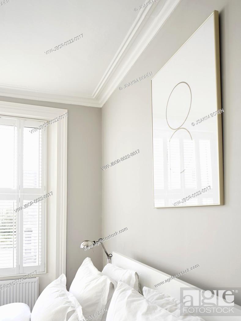 Stock Photo: Master Bedroom detail. Ormond Road, London, United Kingdom. Architect: Mulroy Architects, 2015.