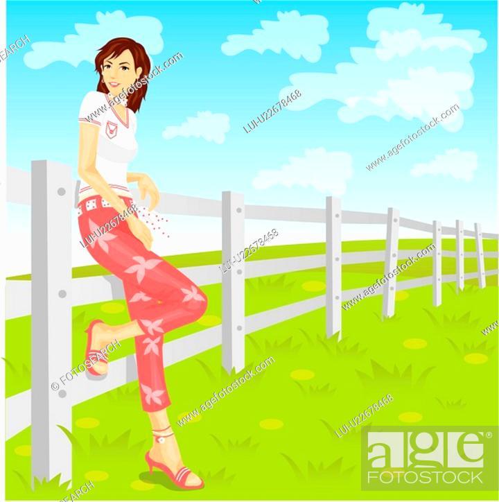 Stock Photo: casual clothing, model, medium hair, vacation, travel, girl.
