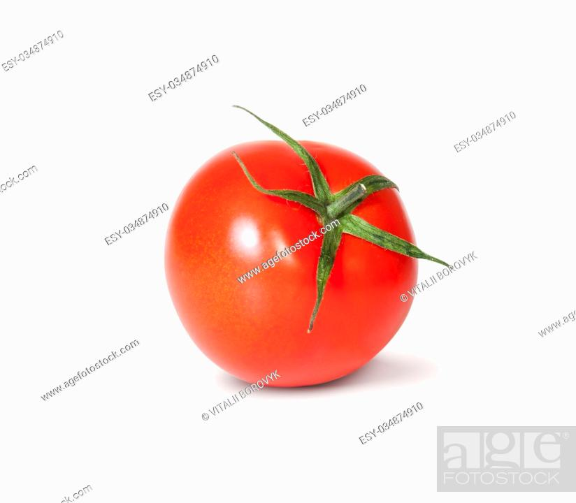 Stock Photo: Single Fresh Red Tomato With Green Stem Rotated Isolated On White Background.