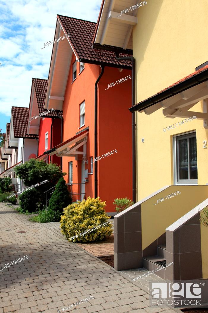 Stock Photo: A row of new townhomes in Bavaria, Germany, Europe.