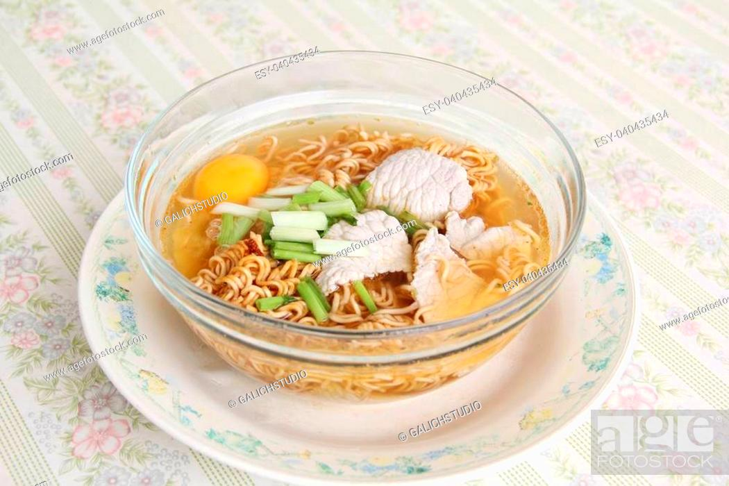 Stock Photo: Instant noodles in a bowl.