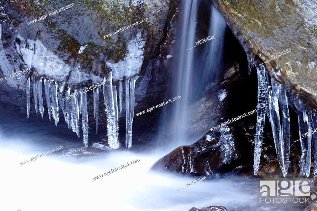 Stock Photo: Rapid in winter, whitewater. Mölltal, Hohe Tauern Region, Alps, Kärnten/Carinthia, Austria, Europe.