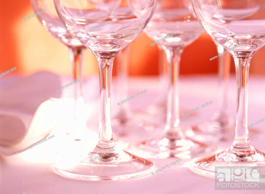 Stock Photo: Close Up of Stemmed Wine Glasses.