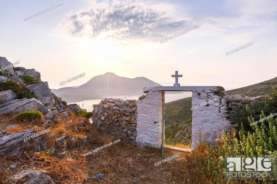 Stock Photo: Gate of the Agios Georgios church enclosure in Acropolis of Fourni island in Greece. .