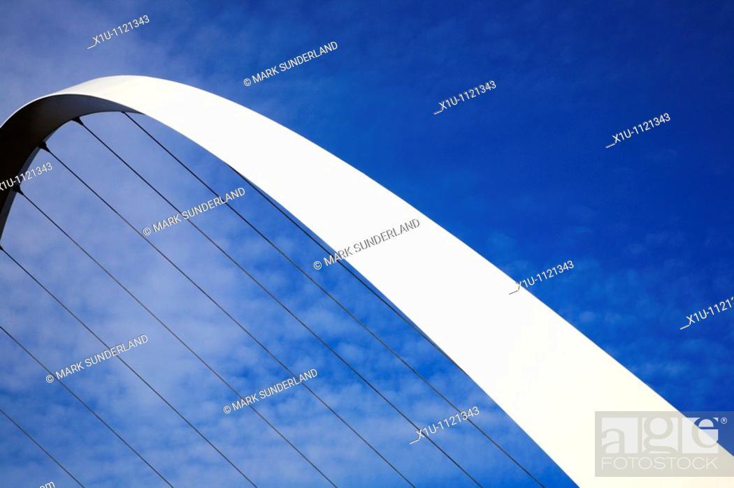 Stock Photo: Millennium Bridge Gateshead Tyne and Wear England.