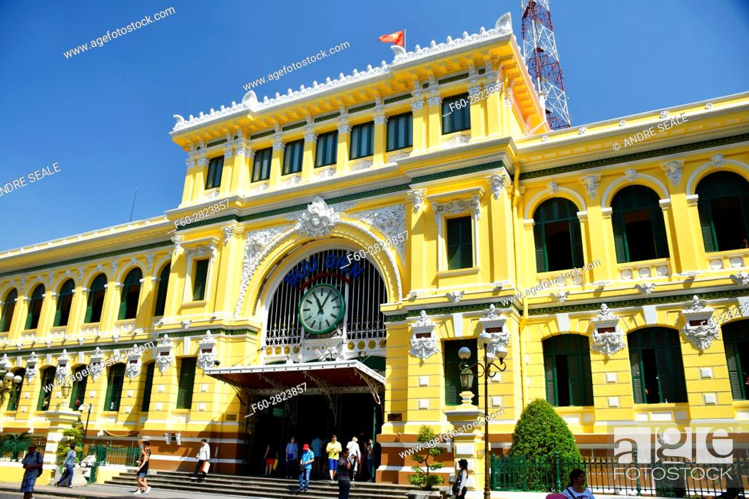 Stock Photo: Post Office Building, designed by Gustave Eiffel, Ho Chi Minh City, Vietnam.