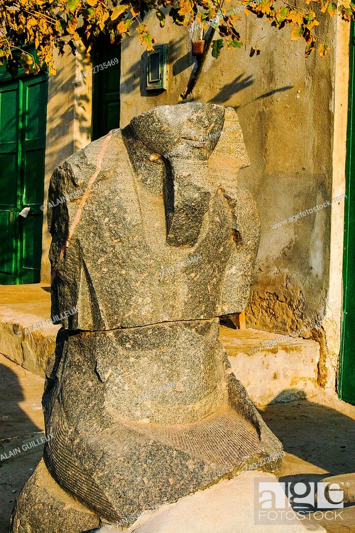 Stock Photo: Egypt, Nile Delta, Tanis, artifacts displayed near the mission house : King statue.