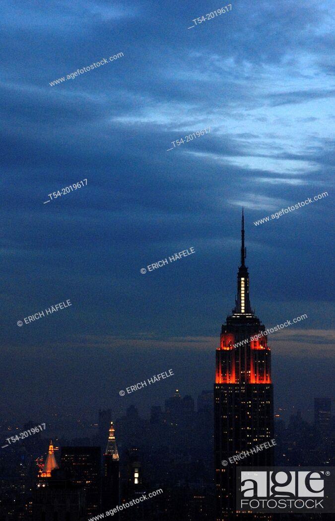 Stock Photo: View over Manhattan from Rockefeller Center at Dusk.