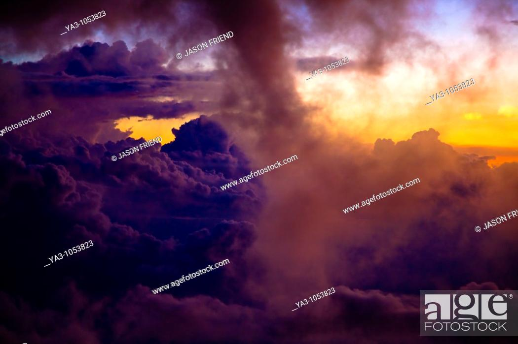 Stock Photo: Sabah Malaysia, Borneo, Kinabalu National Park  Dramatic cloud formations viewed at sunset from Laban Rata on Mount Kinabalu - The highest mountain peak in.