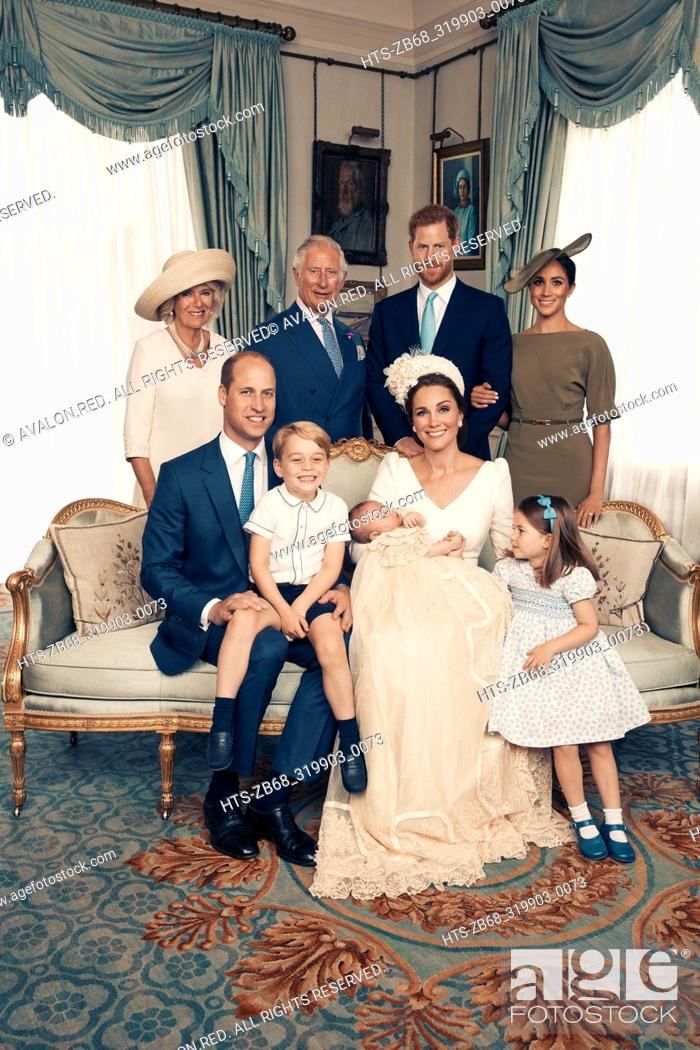Stock Photo: For first publication 22.30 hours BST on Sunday July 15th 2018: OFFICIAL PORTRAIT OF THE CHRISTENING OF PRINCE LOUIS. OBLIGATORY CREDIT LINE: PHOTO MATT.