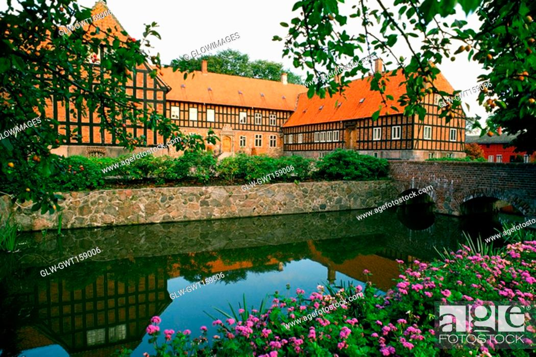 Stock Photo: Pond in front of a building, Funen County, Denmark.