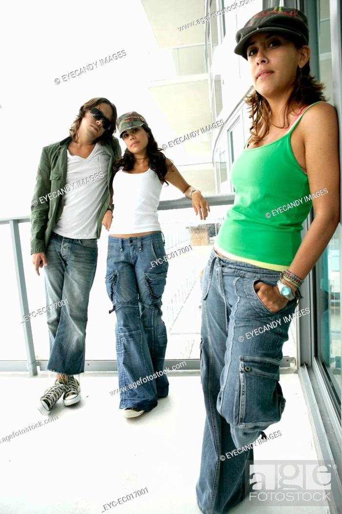 Stock Photo: Three models strike a posing.