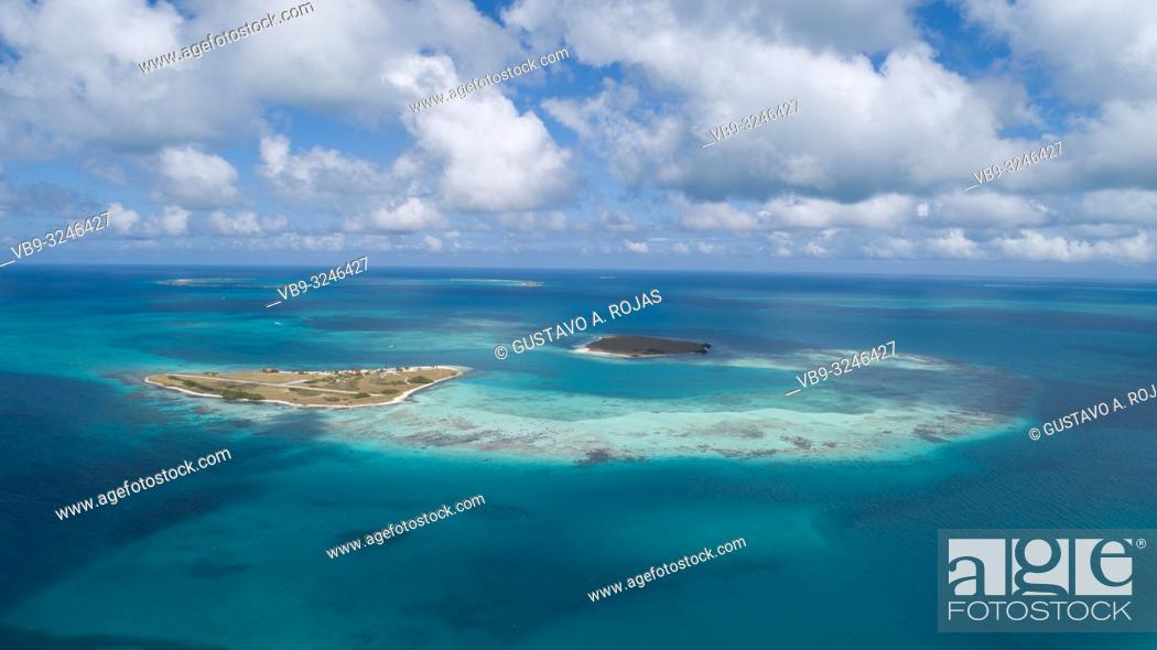 Stock Photo: DOS MOSQUICES Aerial View Archipelago Los Roques Venezuela, Atoll.