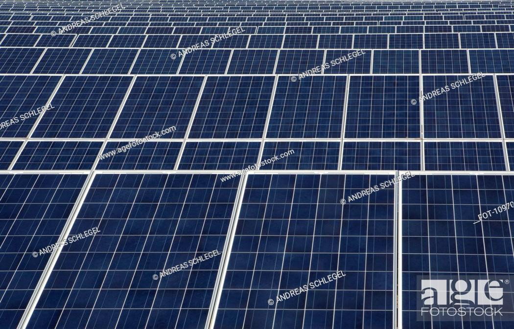 Stock Photo: Detail of rows of solar panels.