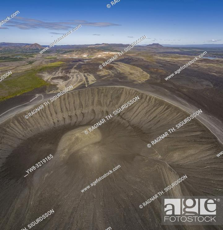Stock Photo: Mt. Hverfjall (Hverfell), Northern Iceland. Hverfjall (also known as Hverfell) is a tephra cone or tuff ring volcano in Northern Iceland.
