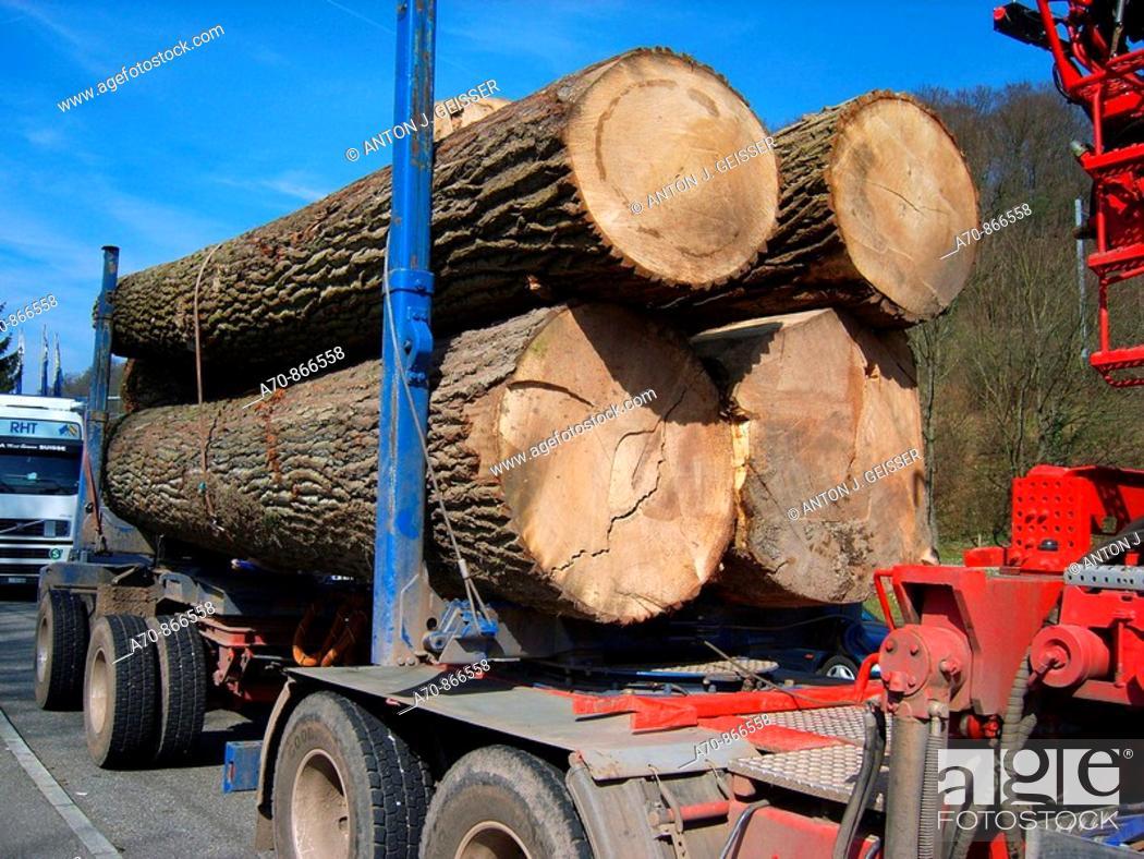 Stock Photo: German wood transporter at Swiss border.