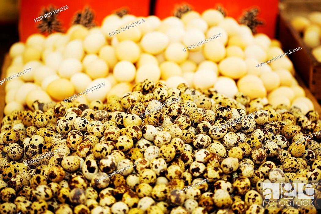 Stock Photo: Quail eggs at a market stall, Tai'an, Shandong Province, China.