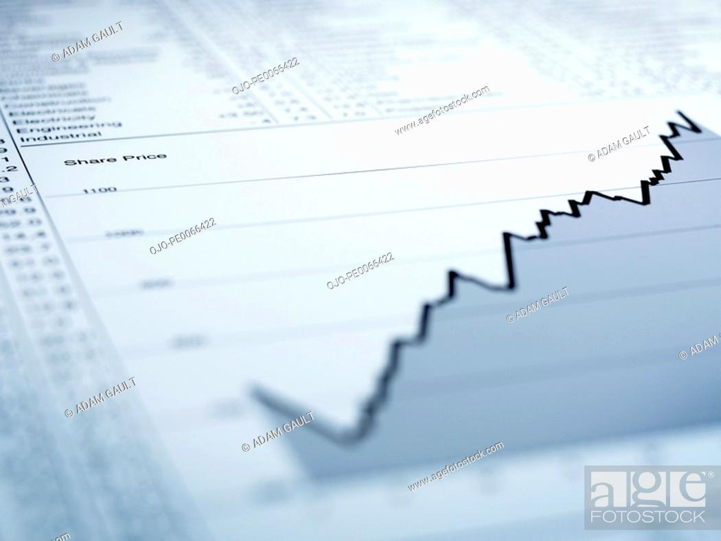 Stock Photo: Ascending line graph and list of share prices.