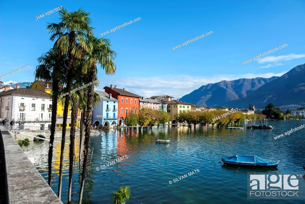 Stock Photo: Ascona in a flooding day in Ticino, Switzerland.