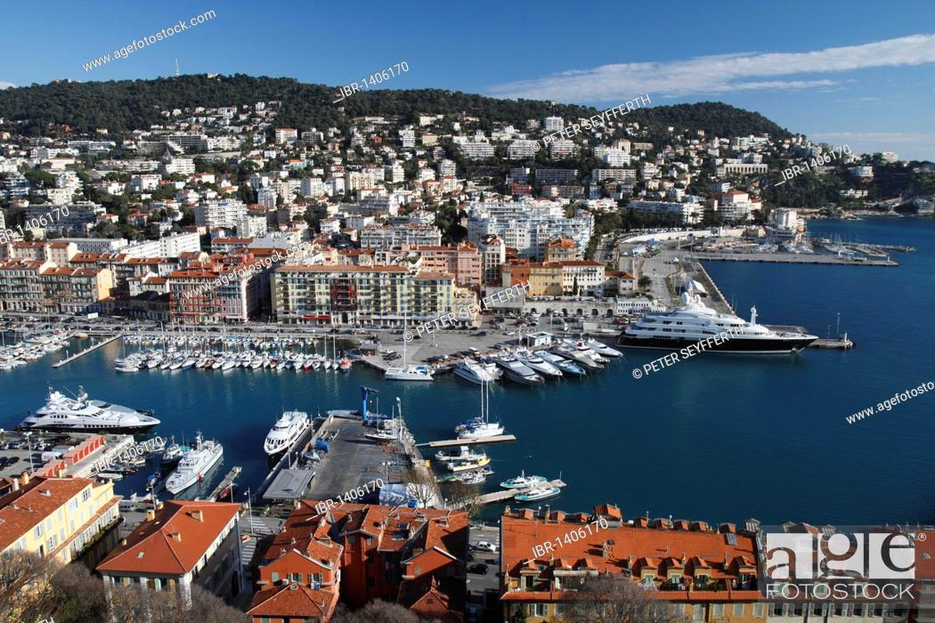 Stock Photo: Port, seen from the castle hill, on the right the yacht Sarafsa, in the rear Mont Boron, Nice, Alpes Maritimes, Région Provence-Alpes-Côte d'Azur.