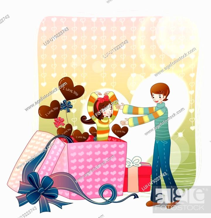 Stock Photo: lover, gift box, girl friend, boy friend, couple.