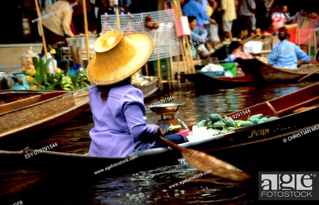 Stock Photo: Schwimmende Märkte in Damneon Saduak.