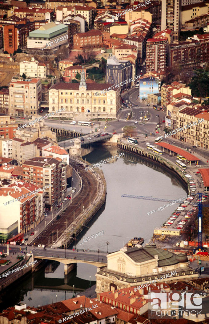 Stock Photo: Arenal Bridge and City Hall, Bilbao, Basque Country, Spain.