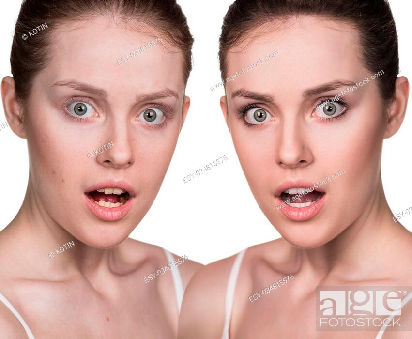 Imagen: Comparison portrait of a woman without and with makeup.