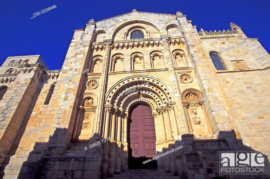 Stock Photo: Puerta del Obispo Bishop's Door is the highlight of the facade of Zamora Gothic cathedral.