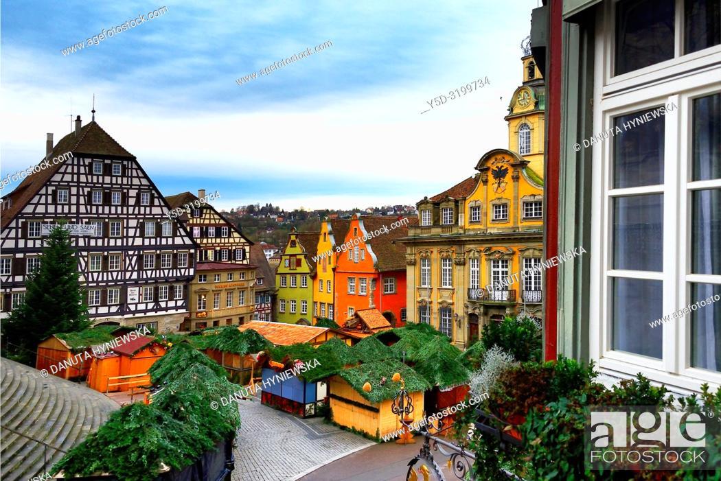 Stock Photo: Christmas market at Marktplatz, historic part of Schwäbisch Hall, Schwäbisch Hall, Baden-Württemberg, Germany, Europe.