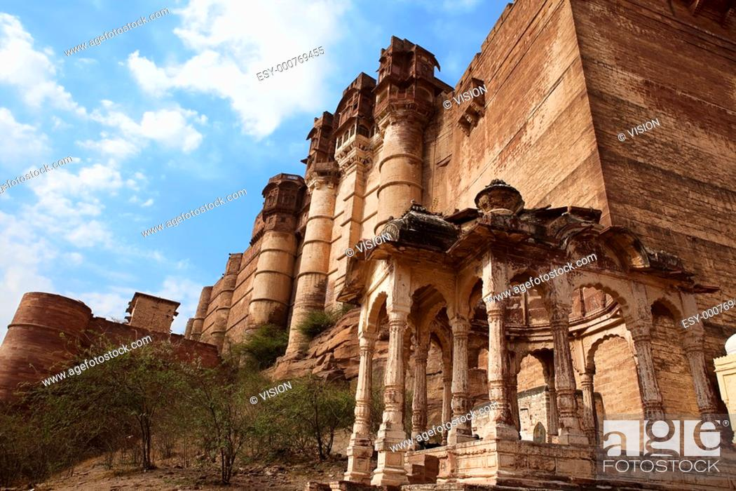 Stock Photo: Meherangarh Fort in the beautiful city of jodhpur in rajasthan state in indi.