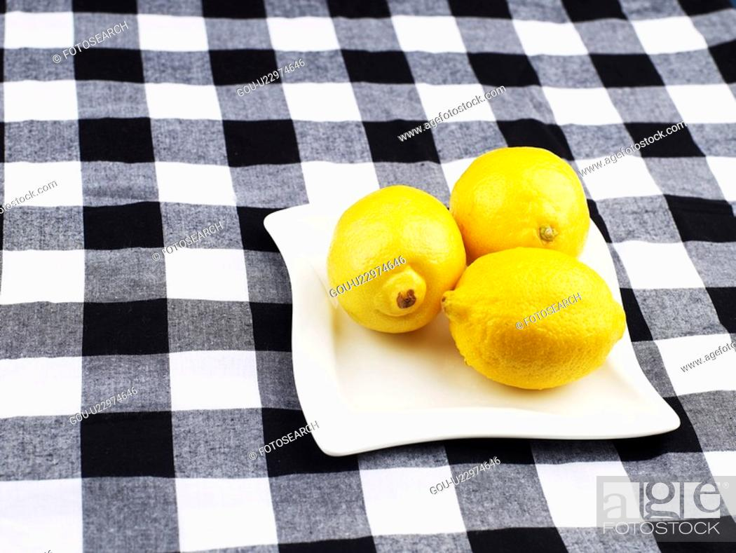 Stock Photo: fruit, plate, plants, plant, table clothes, dish.