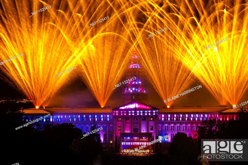 Stock Photo: Fireworks show and the Colorado Symphony Orchestra, Independence Eve at Civic Center Park, Denver, Colorado USA.