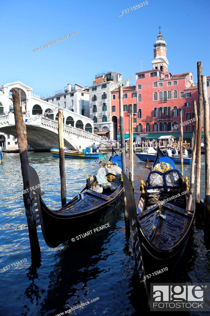 Stock Photo: Gondolas on the Grand Canal in Venice, Italy.