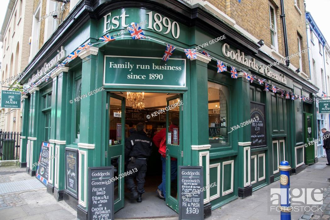 Stock Photo: Goddards at Greenwich Pie and Mash Restaurant; London; England; UK.