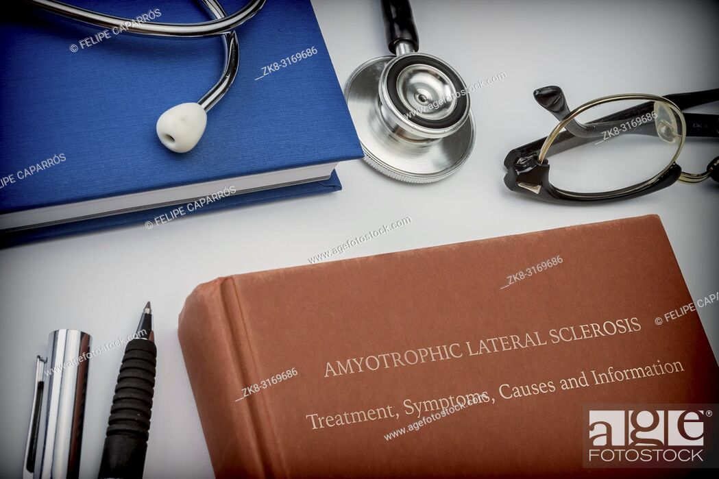 Stock Photo: Titled book Amyotrophic Lateral Sclerosis along with medical equipment, conceptual image.