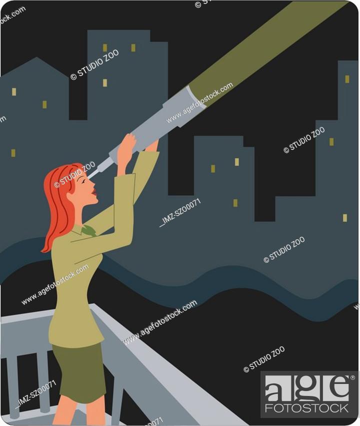 Stock Photo: Businesswoman looking through a telescope.