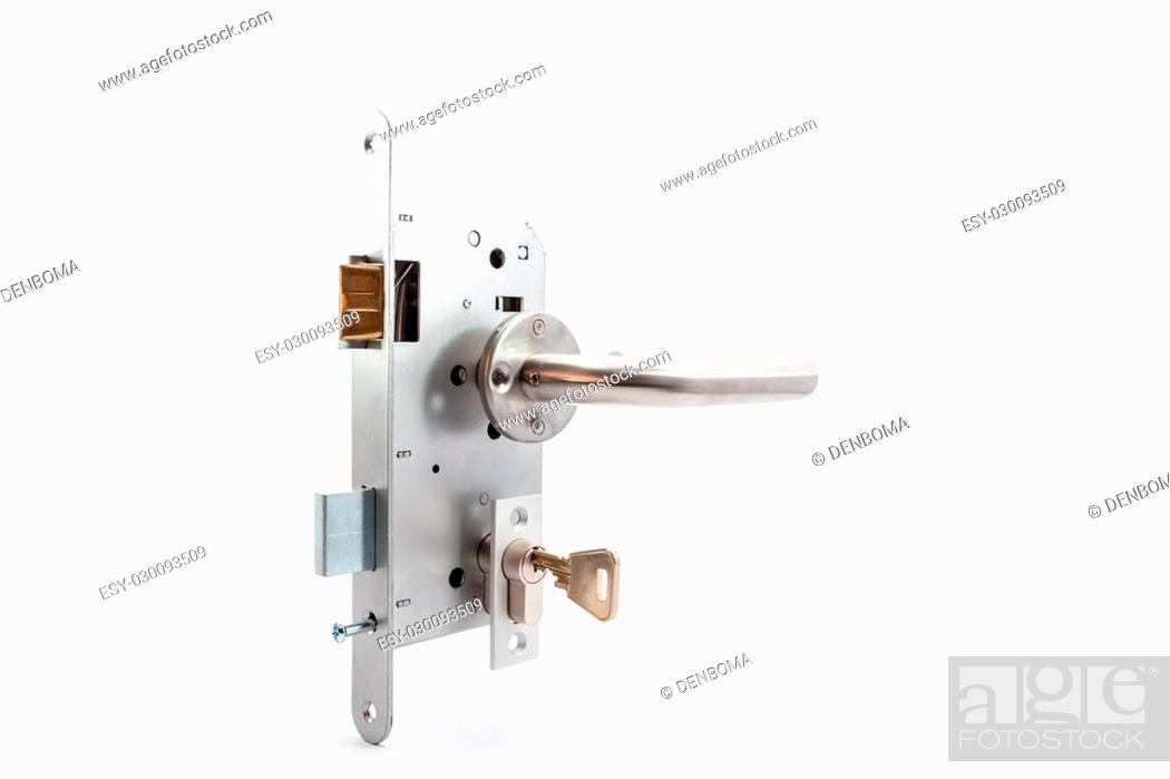 Photo de stock: an security lock with cylinder and key door handle.