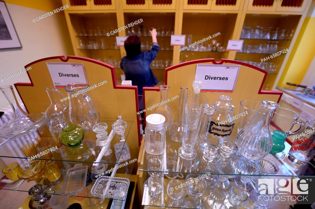 Drinking glasses, furniture and fixtures are for sale at the