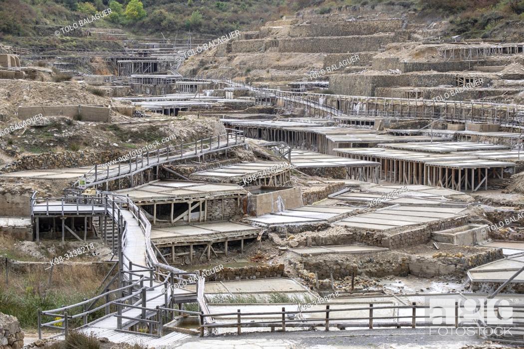 Stock Photo: salinas de Añana, patrimonio agrícola mundial , comarca de Cuadrilla de Añana , Alava, País Vasco, Spain.