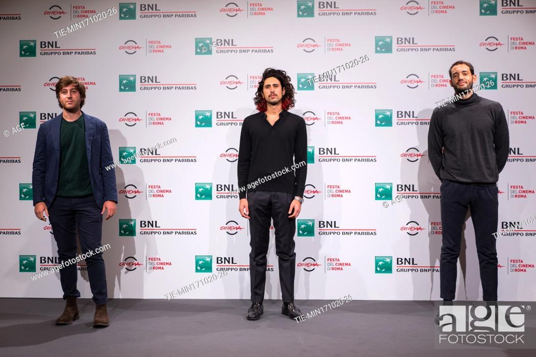 "Stock Photo: Gian Marco Ceccaranelli, Gipo Fasano, Valerio Santucci attends the photocall of the movie """"Le Eumenidi"""" during the 15th Rome Film Festival on October 17."