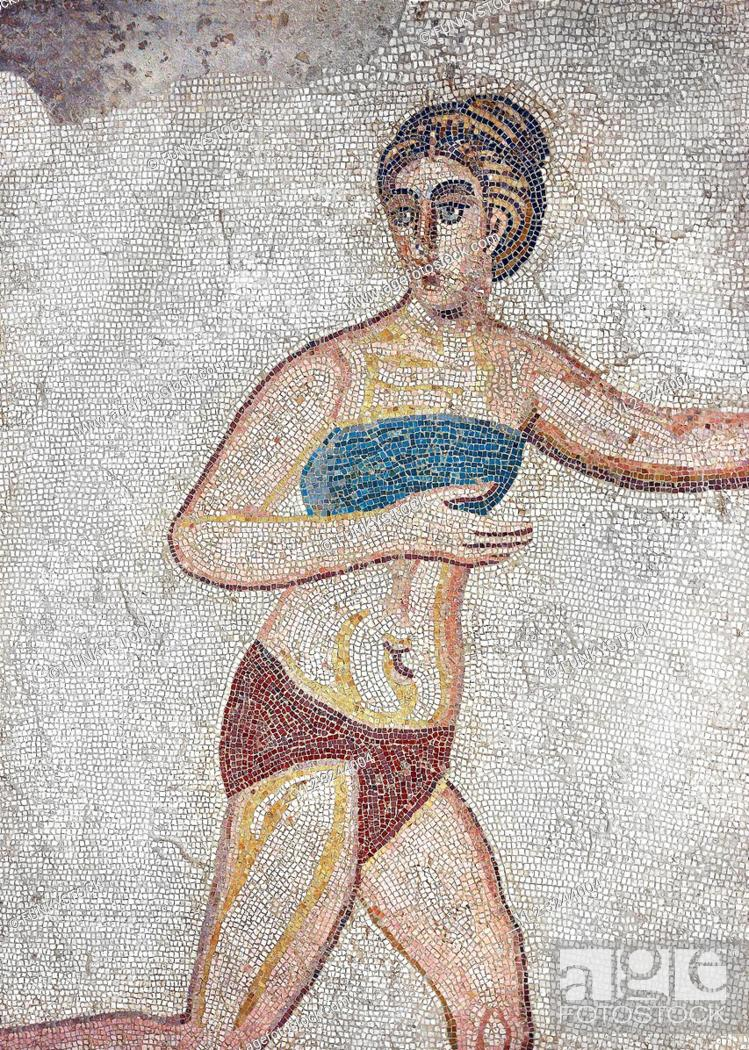 Stock Photo: Mosaic detail fron the Room of the Ten Bikini Girls, room no 30, from the Ambulatory of The Great Hunt, room no 28, at the Villa Romana del Casale which.