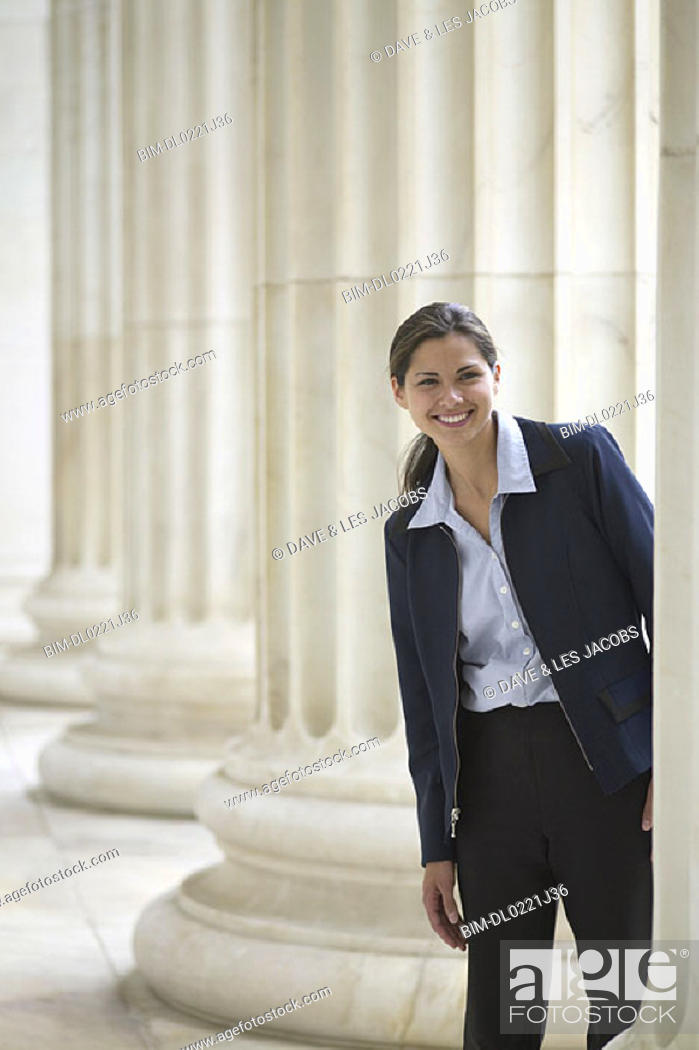 Stock Photo: Portrait of businesswoman smiling.