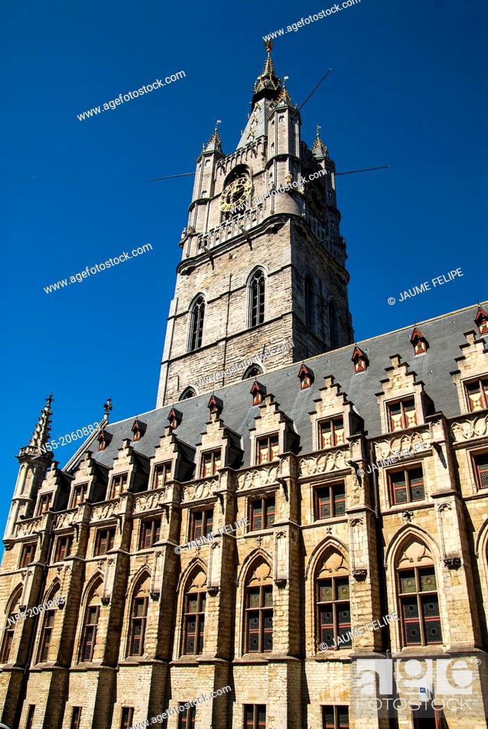 Stock Photo: Belfry of Ghent (XIV Century), West Flanders, Belgium.
